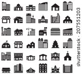 building icons set  | Shutterstock .eps vector #207551203