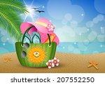 beach bag at sand  | Shutterstock . vector #207552250