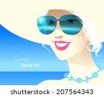 girl wearing sunglasses. vector ... | Shutterstock .eps vector #207564343