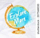 globe watercolors poster hand... | Shutterstock .eps vector #207568030