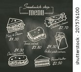 sandwich doodle menu drawing on ... | Shutterstock .eps vector #207576100
