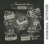 sandwich doodle menu drawing on ...   Shutterstock .eps vector #207576100