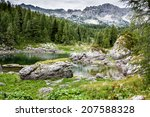 mountain valley with green... | Shutterstock . vector #207588328