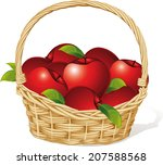 Red Apples In A Basket Isolate...