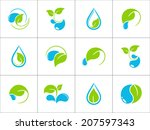 Set Of Icons With Green Leaves...