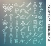 tools and equipment icons set  | Shutterstock .eps vector #207615460