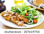 grilled chicken skewer with... | Shutterstock . vector #207619753