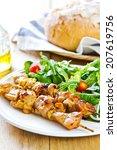 grilled chicken skewer with... | Shutterstock . vector #207619756