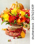 Basket Of Autumn Flowers For...