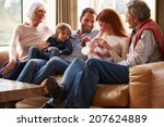 multi generation family sitting ... | Shutterstock . vector #207624889