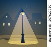 the retro street lamp with city ...