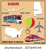 Flat map of Alabama in the U.S. for air travel by car and train. Vector illustration