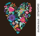 beautiful floral heart card.... | Shutterstock .eps vector #207649540