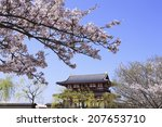 sakura and suzaku gate of nara... | Shutterstock . vector #207653710