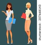 cute cartoon office girls in...   Shutterstock .eps vector #207668143