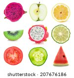 collection of fresh fruit and... | Shutterstock . vector #207676186