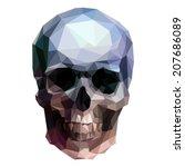 Vector Crystal Skull On White...