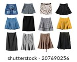 Set Of Various Skirts On White...