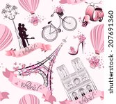 Paris Symbols Seamless Pattern...