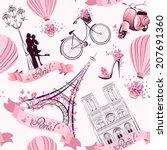 paris symbols seamless pattern. ... | Shutterstock .eps vector #207691360