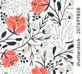 vector floral seamless pattern... | Shutterstock .eps vector #207699808