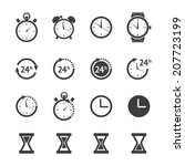 vector black time  clock icon... | Shutterstock .eps vector #207723199