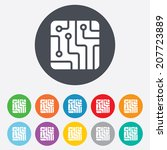 circuit board sign icon.... | Shutterstock .eps vector #207723889