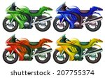Illustration of the four superbikes on a white background - stock vector
