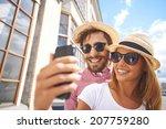 happy girl making selfie with... | Shutterstock . vector #207759280