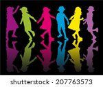 group of children silhouettes | Shutterstock .eps vector #207763573