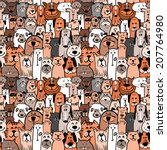 doodle dogs and cats seamless pattern