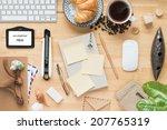 office desk working on a wooden ... | Shutterstock . vector #207765319