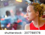 thoughtful lady riding on a... | Shutterstock . vector #207788578