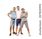 group of young men isolated on... | Shutterstock . vector #207823993