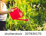 little girl  watering a plant... | Shutterstock . vector #207830170