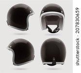 black motorbike classic helmet. ... | Shutterstock .eps vector #207830659