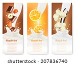 set of banners with hazelnuts ... | Shutterstock .eps vector #207836740