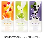 three fruit and milk banners....   Shutterstock .eps vector #207836743