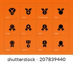 medal and cup icons on orange...