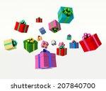 christmas gift boxes. 3d render ... | Shutterstock . vector #207840700