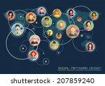social network concept. flat... | Shutterstock . vector #207859240