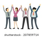 happy and successful... | Shutterstock .eps vector #207859714