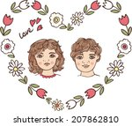boy and girl | Shutterstock .eps vector #207862810