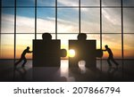 business teamwork  puzzle... | Shutterstock . vector #207866794
