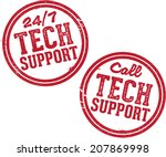 tech support stamps | Shutterstock .eps vector #207869998