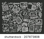 doodle media background | Shutterstock .eps vector #207873808