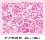 doodle media background | Shutterstock .eps vector #207873838