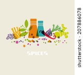 vector color spices and herbs... | Shutterstock .eps vector #207886078