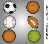 a set of sports ball in a grey... | Shutterstock .eps vector #207889984