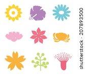 set of vectorized flowers | Shutterstock .eps vector #207893500